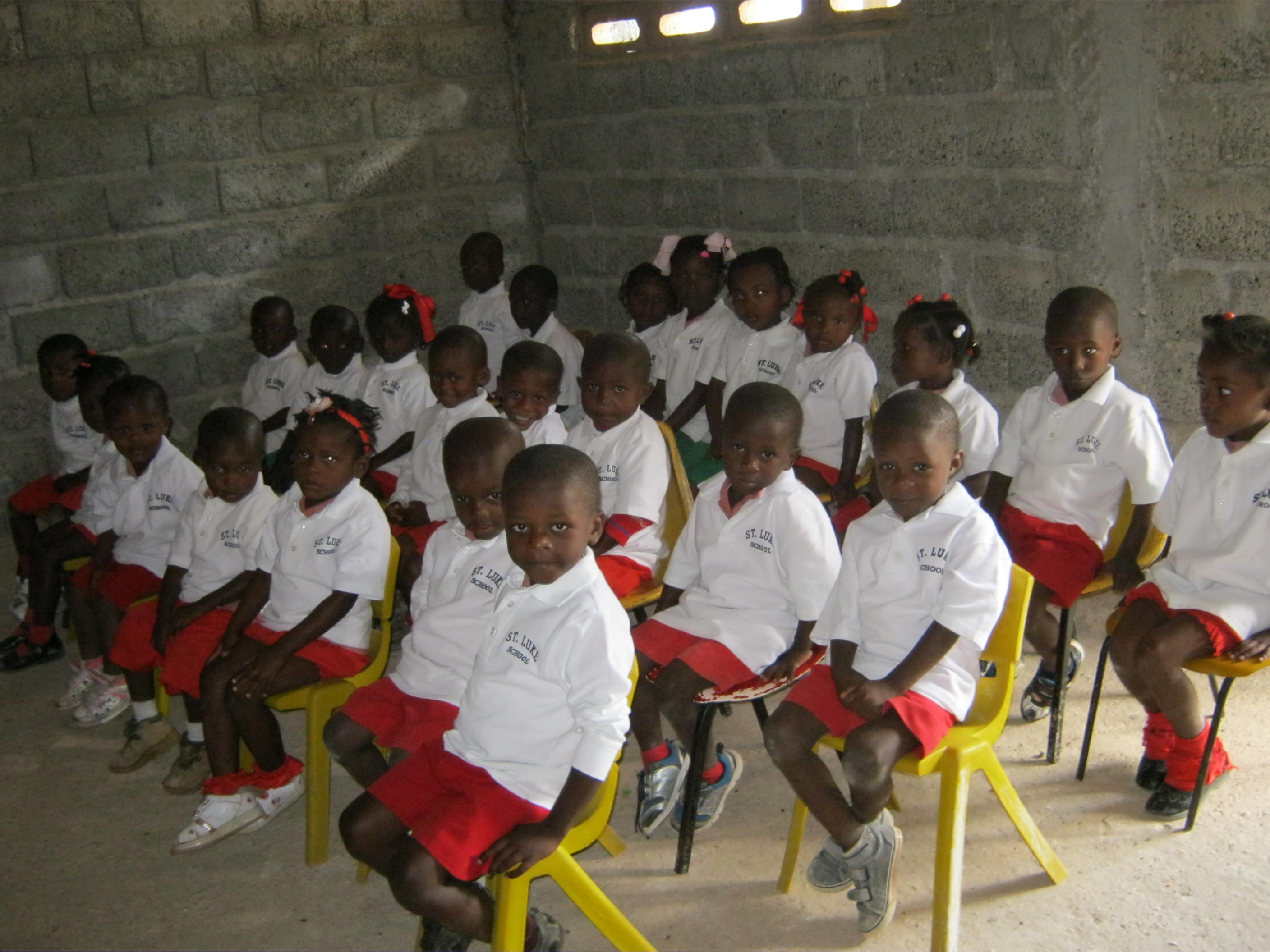 Young class in St. Luke uniforms