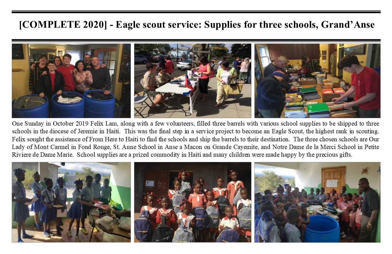 Belimage - ProjectComplete - Jeremie Diocese, Eagle Scout School supplies